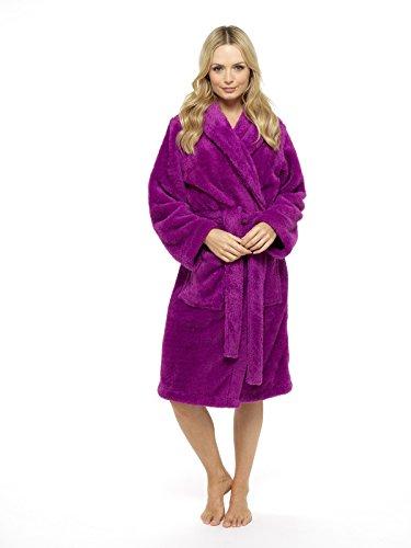CityComfort® Ladies Dressing Gown Shaggy Soft Girls Fleece Kimono Gowns Robe Bathrobe Loungewear - Perfect Gift For Her