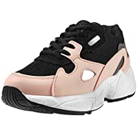 FITFOOT Fashion Platform Trainers for Women - Safety Trainers Low Top, Lace Up Sneakers, Great for Outdoor, Lifestyle, Gym Sports, Travel, Casual and Daily Wear (5 UK, Black/Pink)