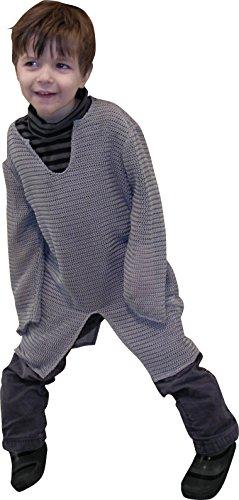 Kinder Ritter Kettenhemd grau gehäkelt 7-10 (Templiers Kostüm)