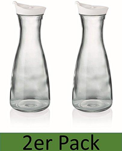 Karaffe mit Deckel 2er Set weiß 1 Liter