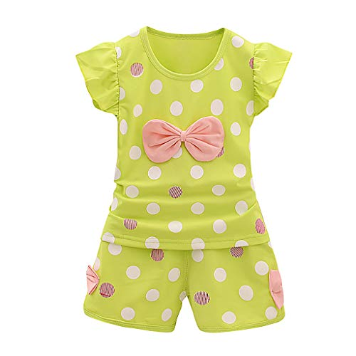 Alwayswin Unisex-Kinder Sommer Shorts & Top Sets Baby-Outfits Freizeit Outdoor Sport-Outfit Bequem Lose Babykleidung Süß Fliegender Ärmel T-Shirt Cool Gummiband Shorts Outfits