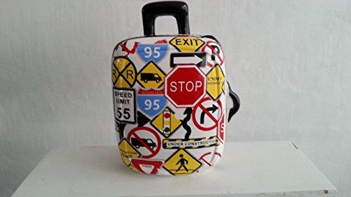 Spardose Reisekasse Urlaubskasse Trolley mit Verkehrsschilder, 16 cm, mit Schloss und Schlüssel