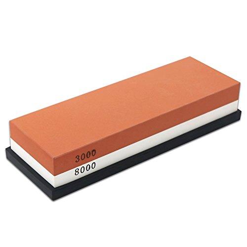 Schleifstein Messer, NOTENS 2 Seite 3000/8000 Grit Whetstone, beste Küche Messerschärfer Stein mit Gummihalter, für Küche - Messerschärfer Stein-küche