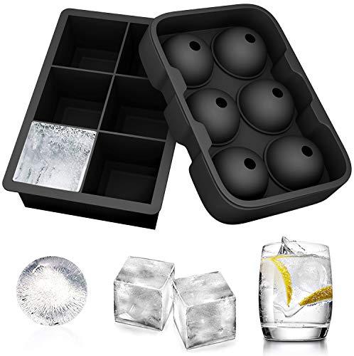 FUKIPRO 2er Set Silikoneiswürfelformen für 6 Eiskugeln und 6 Eiswürfel
