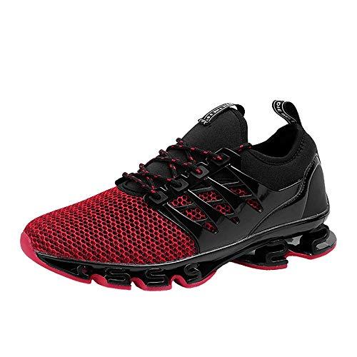 WateLves Herren Laufschuhe Fitness straßenlaufschuhe Sneaker Sportschuhe atmungsaktiv rutschfeste Mode Freizeitschuhe(Rot,41 EU)