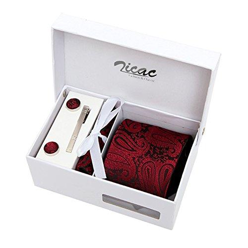 Zicac Set Cravatta di seta e poliestere per uomo , fazzoletto da taschino , gemelli , e clip lega cravatta (Rosso)