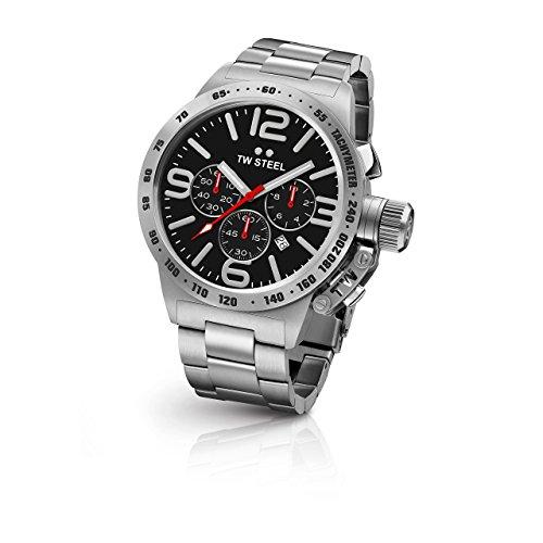 TW Steel CB8pour homme Canteen Bracelet Argent Band Cadran noir montre