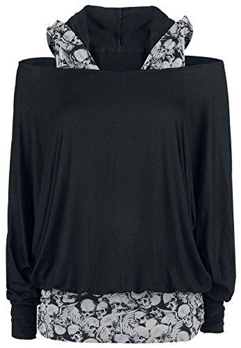 Black Premium by EMP Hooded Bat Double Layer Manica lunga donna nero Nero