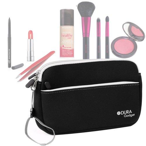 Trousse de maquillage/toilette en noir avec compartiment zippé pour transporter pinceaux, rouge à lèvres et fond de teint - résistante et lavable