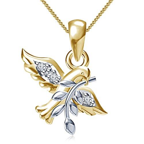 Vorra Fashion due tono stile Tiffany Colomba Ciondolo in argento Sterling 925bianco Zirconia