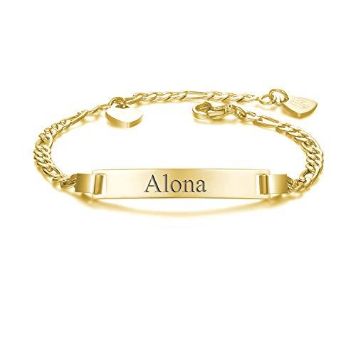 URBANHELDEN - Armband mit Wunschgravur - Graviertes ID-Armband mit Herz-Anhänger - Damen Gravurarmband Name - Armkette Schmuck - Bar Basic Gravur - in Gold (Armbänder Mit Namen Graviert)