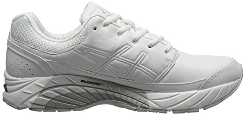 Asics GEL-Foundation Workplace Cuir Baskets White-Silver