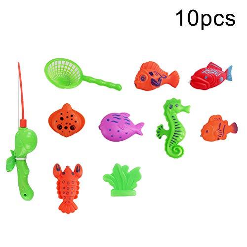 eug, magnetisches Angelspiel, Fisch-Modellbausatz, vorgeben, Spielkinder früh Lernen Spielzeug 10pcs ()
