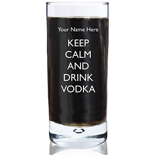 personalisiert mit Ihrem Namen Gravur 283,5Bubble Boden Hi Ball Glas mit Keep Calm And Drink Vodka Design Hi-ball Gläser