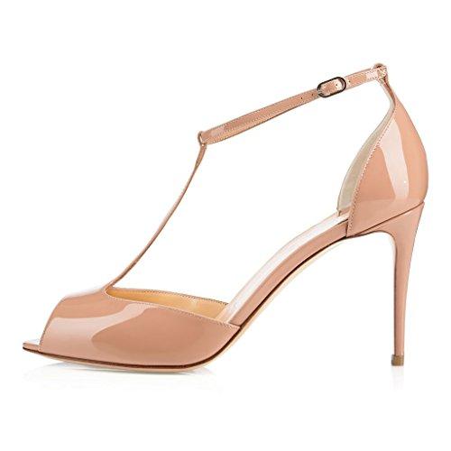 T Damen Beige spange Knöchelriemchen Schuhe 80mm Mit Pumps Heels Peep Hoch Absatz Edefs Toe a6nFxn