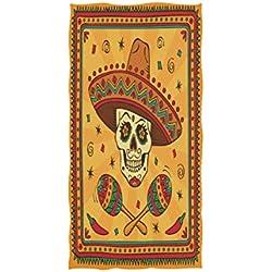 Wamika Carnival - Toalla de Mano (algodón, 76 x 38 cm), diseño de Calavera de azúcar Mexicana