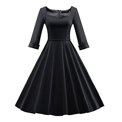 iLover Frauen Vintage 1950er halbe Hülsen Weinlese Großes Hem Rockabilly Swing Kleid