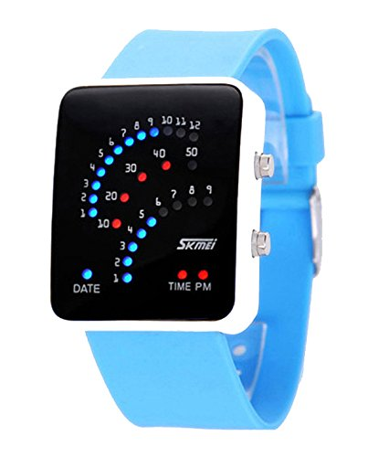 ufengke® exquisite 30 m wasserdicht binäre führte elektronische armbanduhren,rechteck zifferblatt silikonband am handgelenk armbanduhren,hellblau