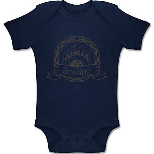 Sport Baby - Bowling Lorbeerkranz - 12-18 Monate - Navy Blau - BZ10 - Baby Body Kurzarm Jungen Mädchen