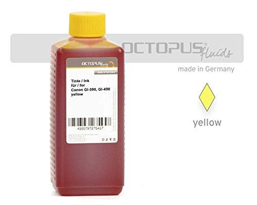 Preisvergleich Produktbild 100ml Octopus® Druckertinte, Nachfülltinte für Canon GI-590, GI-490 Y, Canon Pixma G1500, G2500, G3500, G4500, G1400, G2400, G3400, Farbe Gelb (kein OEM)