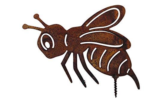 ecosoul Gartendeko Biene mit Dorn Schraube zum Befestigen Baumtier Metall Rost Deko