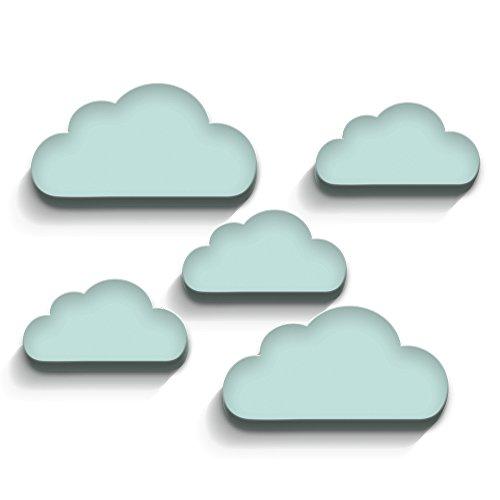 luvel - 3D-Wanddeko Kinderzimmer 5er-Set - (M6) weiße, blaue, pinke, türkis Wolken mit 3D-EFFEKT 10mm Kunststoff (mind)