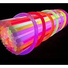 Toysntrendz® 100Glow Stick en colores mezclados/brilla en la oscuridad Glow Sticks pulseras Kits de conectores para hacer gafas, pulseras, diadema, pendientes, flores bolas brillantes muchos más Halloween discoteca parte más