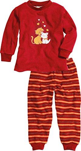 Playshoes Mädchen Frottee Katzen Zweiteiliger Schlafanzug, Rot (original 900), (Herstellergröße: 92)