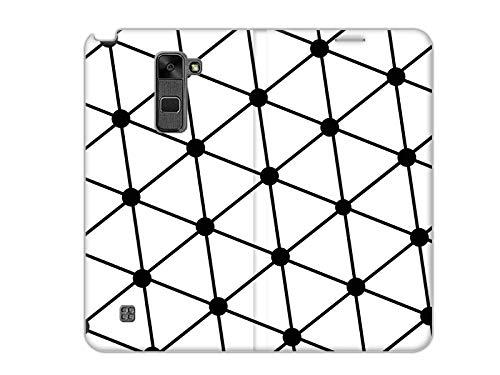 etuo LG Stylus 2 - Hülle, Handy Flip Case - Schwarz-Weißes-Netz