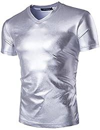 Homme Chemise Manches Courtes Shirt Couleur Vive V-cou Décontractée T-shirts