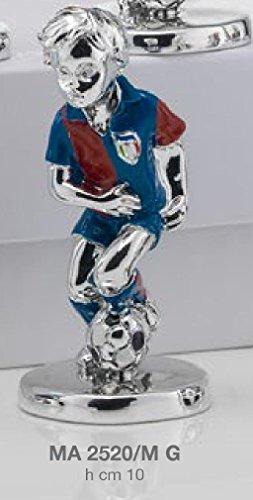 Statuina giocatore calcio squadra genoa h.cm 10 smaltata laminato argento made in italy con scatola