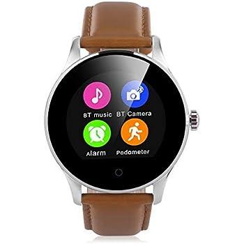 K88H Montre Intelligent de Sport (1.22240 x 204HD IPS - Appel/SMS - Pédomètre Moniteur de Rythme Cardiaque Sommeil pour Android et IOS)  (Brun/Cuir)