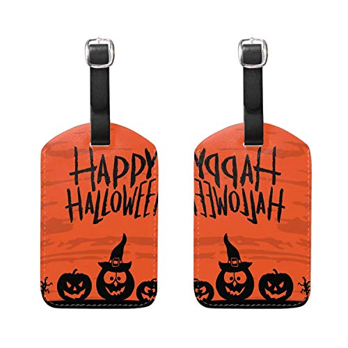 Kofferanhänger mit Ausweis, Leather Happy Halloween Print Luggage Tags Travel Baggage Labels Bag Tag Set of 2