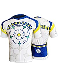 BSK Yorkshire Rose Flag Mens Short Sleeve Cycle Jersey Cycling Shirt Top  WHITE 40df0c826