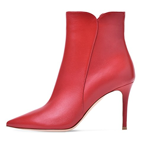 Soireelady Damen Ankle Boots |Stiefeletten Zipper | Leder-Optik Schuhe | 8 CM High Heels | Kurzschaft Stiefel mit Absatz Rot EU37 (Rote Stiletto-stiefel)