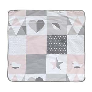roba Babydecke 'Happy Patch', Decke zum Kuscheln, Krabbeln & Spielen, 2 seitig f. 2 Funktionen: 1x super weich, warm & flauschig, 1x 100% Baumwolle