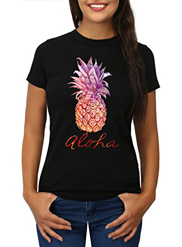 Strawberry Island Damen T-Shirt ALOHA Hawaii Ananas Printshirt schwarz L (Hawaii-aloha-shirt Schwarzes)