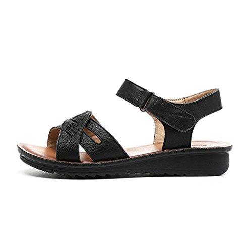 Damen Sandalen Kreuz Klettverschluss Flach Rutschhemmend Atmungsaktiv Weich Strapazierfähig Bequem Lässig Sommerlich Schuhe Schwarz