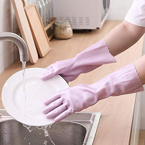 D-SYANA8 - Guante de limpieza de látex, antideslizante, impermeable, 2 unidades, color rosa small morado