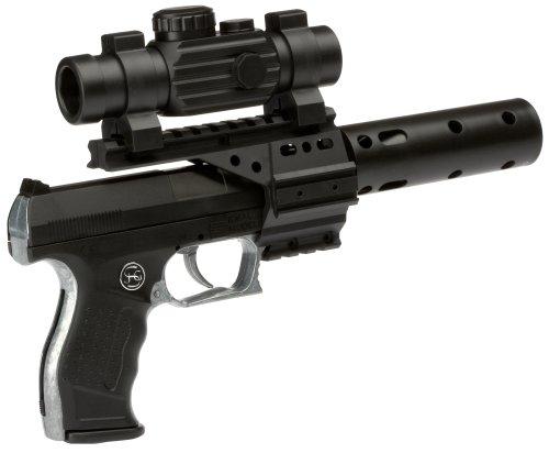J.G.Schrödel PB 001: Spielzeugpistole für Zündplättchen,mit Schalldämpfer und Ziffernrohr, ideal für das Polizeikostüm, 13 Schuss,  29 cm, schwarz (307 0100) (James Bond Kostüm Kind)
