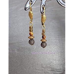 Minimalistische Feine Ohrringe, bronzene Lavastein, Tigerauge, Geschenkidee