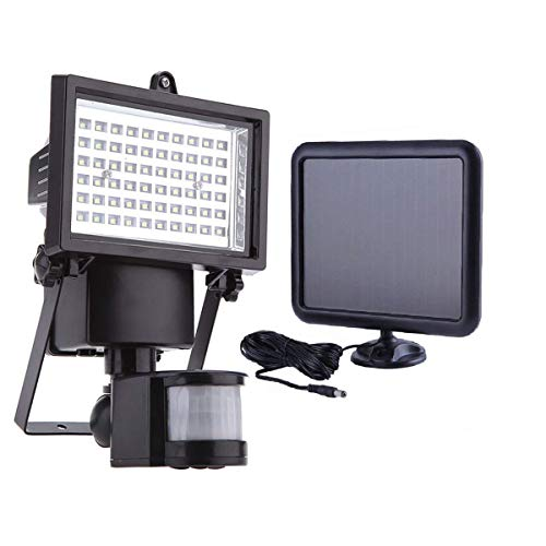 60 LEDs Solar Strahler Solarlampen mit Bewegungsmelder - Außen Solarpanel Strahler Solarleuchte -...