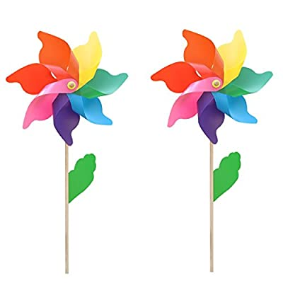 Homgaty 2X 18CM Colorful Garden Windmill for Flower Bed Plant Pot Ornament Art Decoration - inexpensive UK light store.