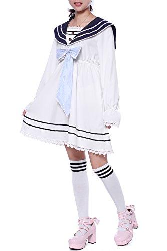 eemann Kleider Chiffon Langarm Cosplay Kostüm (EU36, GC269B-NI) (Seemann-kostüm Für Frauen)