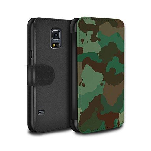 Stuff4® PU-Leder Hülle/Case/Tasche/Cover für Samsung Galaxy S5 Mini/Grüner Wald Angriff Muster/Militär Camouflage Tarnung Kollektion (S5 Galaxy Tasche Camo)