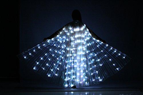 TOFERN Bauchtanz Belly Dance Flügel LED mit 2 Stöcke teleskopisch 360 Grad für Bühnen Weihnachten Cosplay Party, Weiß