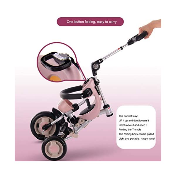 JYY 4-in-1 Baby Tricycle Folding - Kids Pedal Trike with Pushing Handle, Detachable Canopy, Non-slip Pedal, Safety Guard,Brown-1 JYY 4-IN-1 MULTIFUNCTIONAL: A stroller (Foldable) that can become a steering trike, learning to-ride trike and finally a classic trike. 3-Stage trike adjusts as child grows. For baby from 18 months, within 25kg. DURABLE MATERIAL: This push trike is made of High-quality carbon steel frame with superior strength, anti-corrosion and anti-peeling. Adjustable canopy with 600D oxford fabric blocks harmful UV rays. SAFETY DESIGN: High-back support, surrounded guardrail prevent sliding out or overly leaning forward. Hollow wheels prevent clamped feet. 2