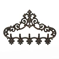 Sungmor Cast Iron Rustic Coat Hook Hanger with 5 Hooks - Practical Iron Storage Organizer/Wall Hooks Hanging Rack - Pretty Pattern Charming Wall Decor for Keys Clothes Hats
