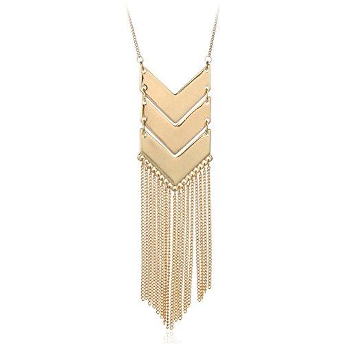 Gold versilbert einzelne V-förmigen Harz Perlen langkettigen Quaste Anhänger Halskette (Workout Kleidung Männer 80er)