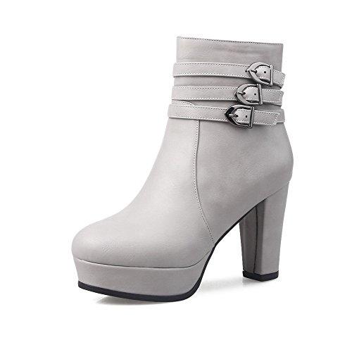 AllhqFashion Damen Blockabsatz Reißverschluss Mittler Absatz Stiefel, Weiß, 42